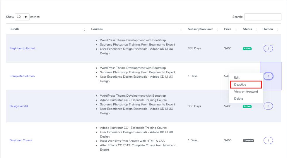 Academy LMS Course Bundle Subscription Addon - 5
