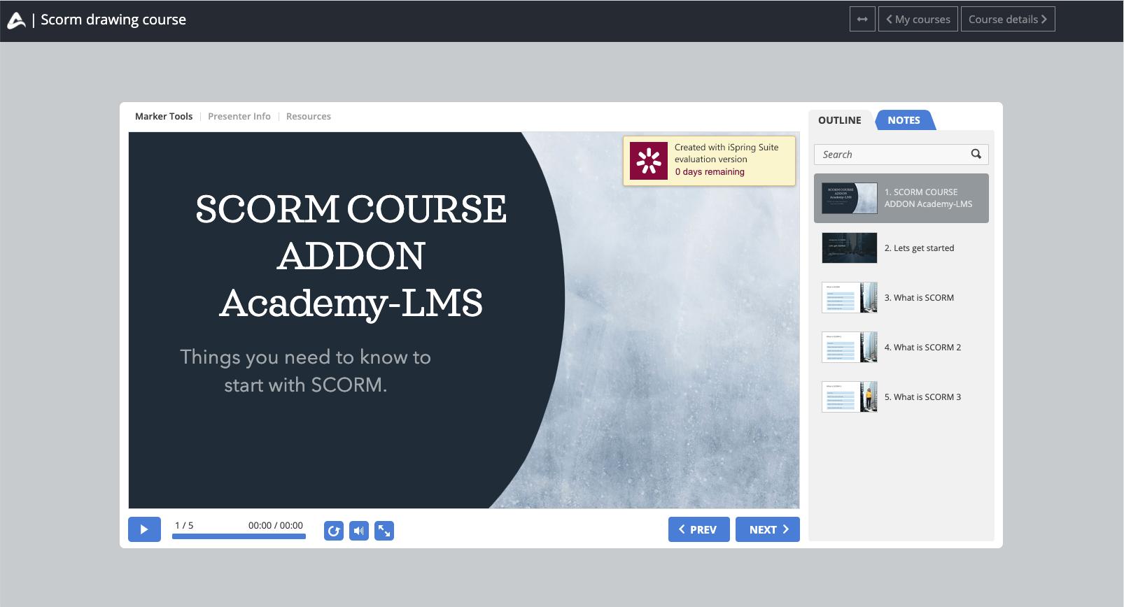 Academy LMS Scorm Course Addon - 1